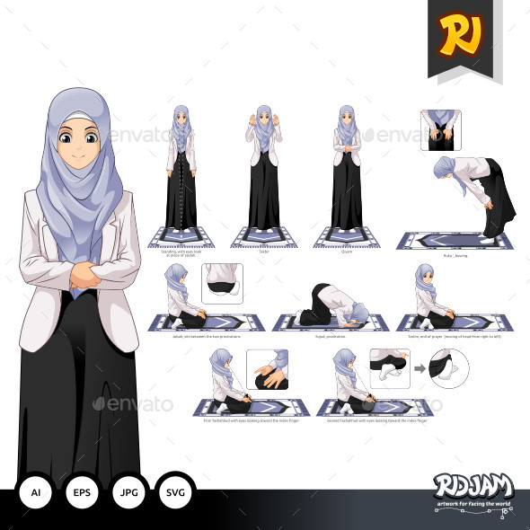 Complete Set of Muslim Woman Prayer Position Guide Step by Step Vector Illustration - People Characters