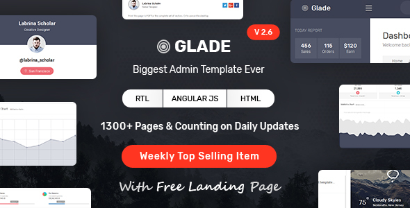 Glade – Admin Template with Bootstrap and Angular JS