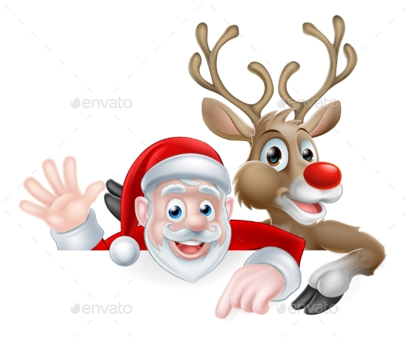 Santa and Reindeer Christmas Illustration - Seasons/Holidays Conceptual