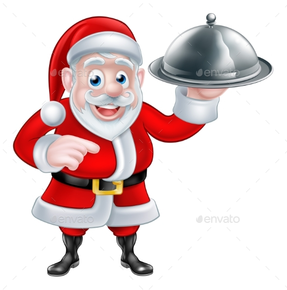 Pointing Santa Chef Holding Christmas Dinner - Food Objects