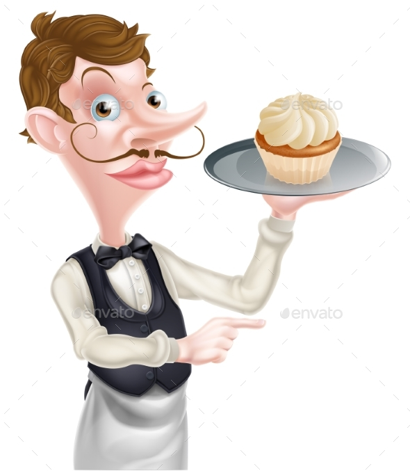 Waiter with Cake Pointing - Food Objects