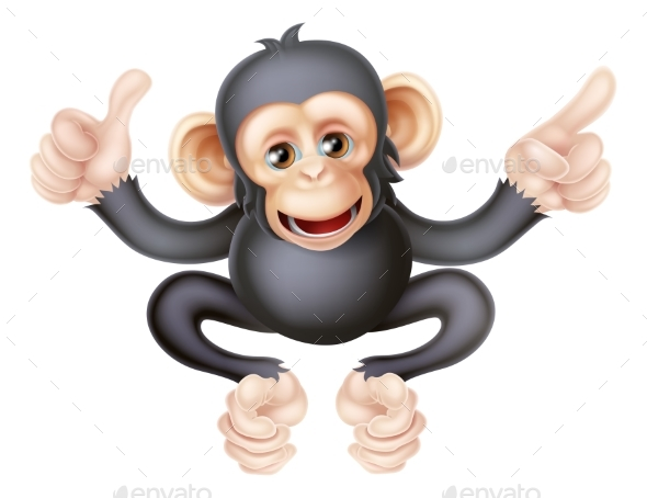 Thumbs Up Pointing Monkey Chimp - Animals Characters