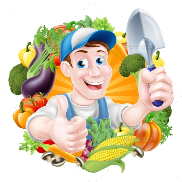 Cartoon Vegetables Gardener - Food Objects