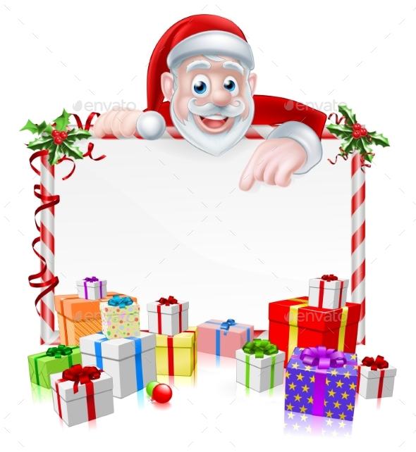 Cartoon Santa Sign - Seasons/Holidays Conceptual