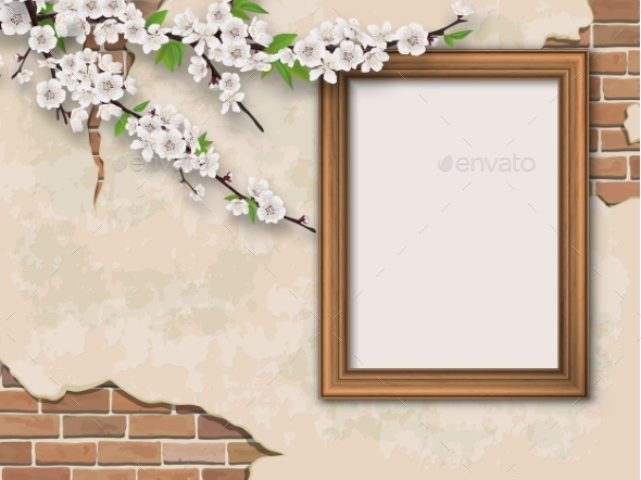 Tree Branches and Frame on Vintage Background - Backgrounds Decorative