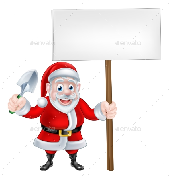 Cartoon Santa Holding Trowel and Sign - Miscellaneous Vectors