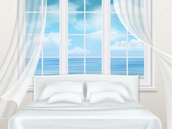 Bed Near Window - Objects Vectors