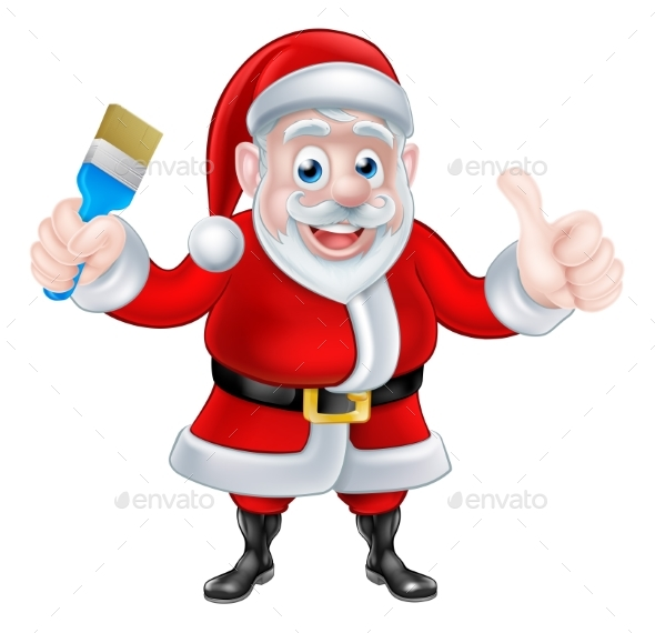 Cartoon Santa Giving Thumbs Up Holding Paintbrush - Christmas Seasons/Holidays