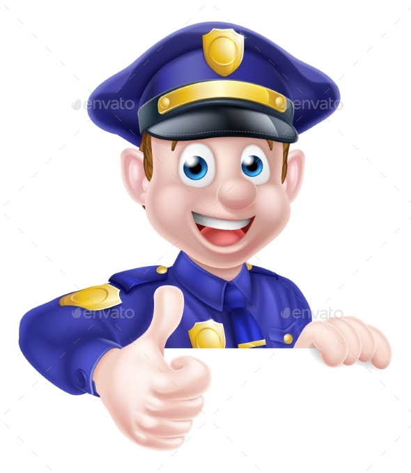 Policeman Giving Thumbs Up - People Characters