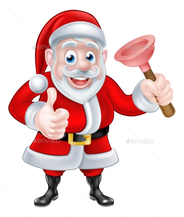 Cartoon Santa Giving Thumbs Up and Holding Plunger - Seasons/Holidays Conceptual