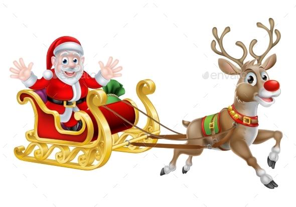 Santa Christmas Sleigh - Miscellaneous Vectors