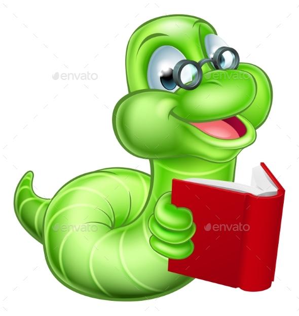 Bookworm Cartoon - Miscellaneous Vectors