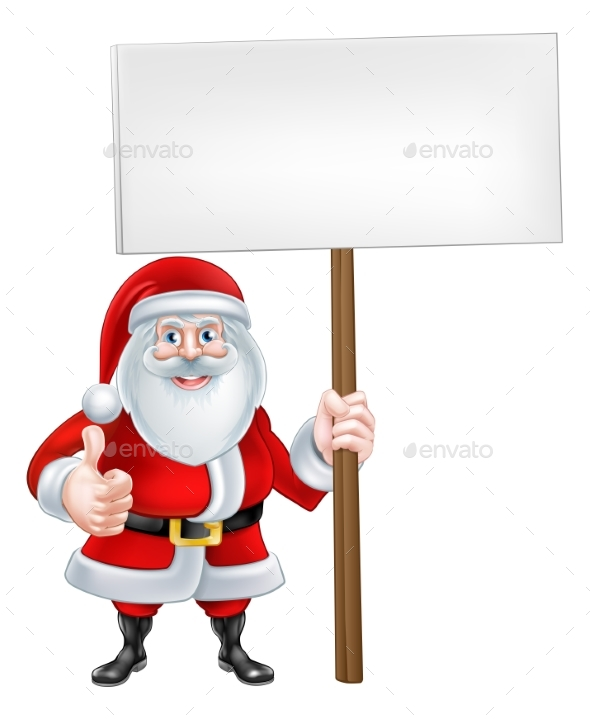 Cartoon Santa Holding a Sign - Christmas Seasons/Holidays