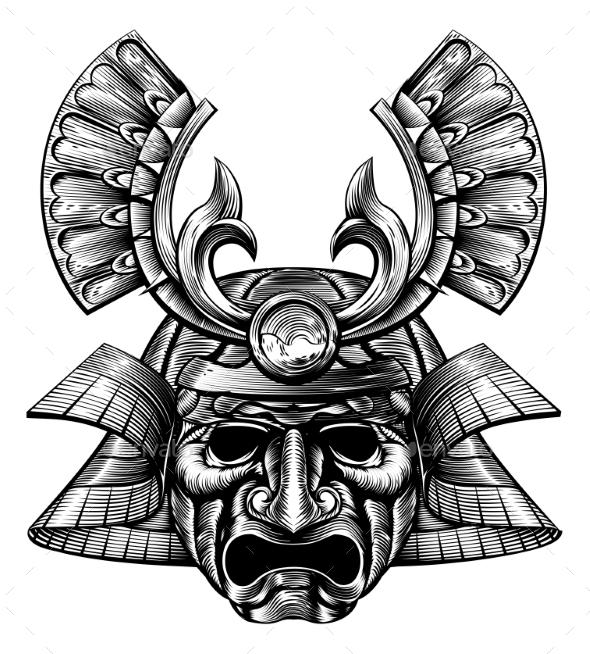 Samurai Mask Woodblock Style - Miscellaneous Vectors
