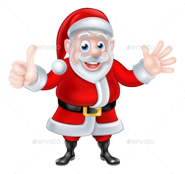 Thumbs Up Waving Cartoon Santa - Christmas Seasons/Holidays