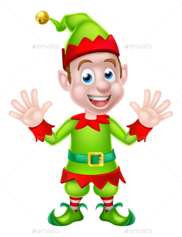 Cartoon Christmas Elf Waving - Christmas Seasons/Holidays