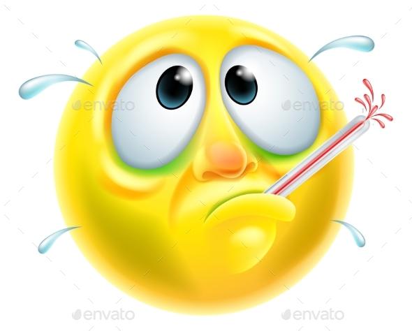 Sick Ill Emoticon Emoji - Health/Medicine Conceptual