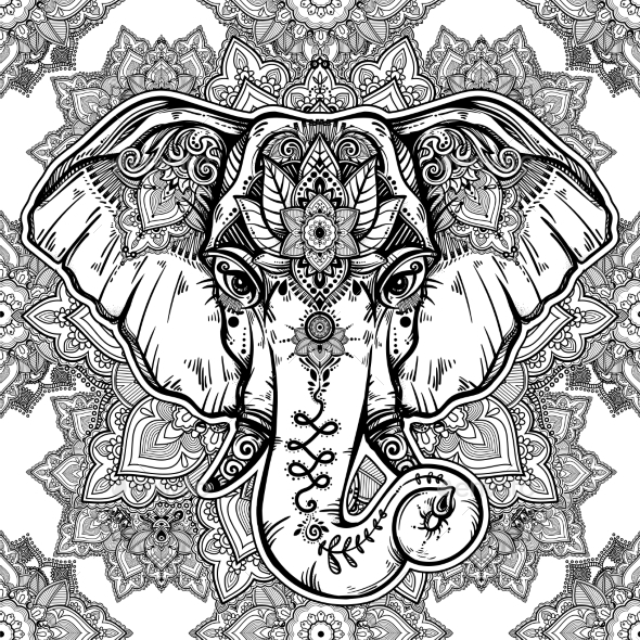 Floral Paisley Elephant Head Pattern - Patterns Decorative