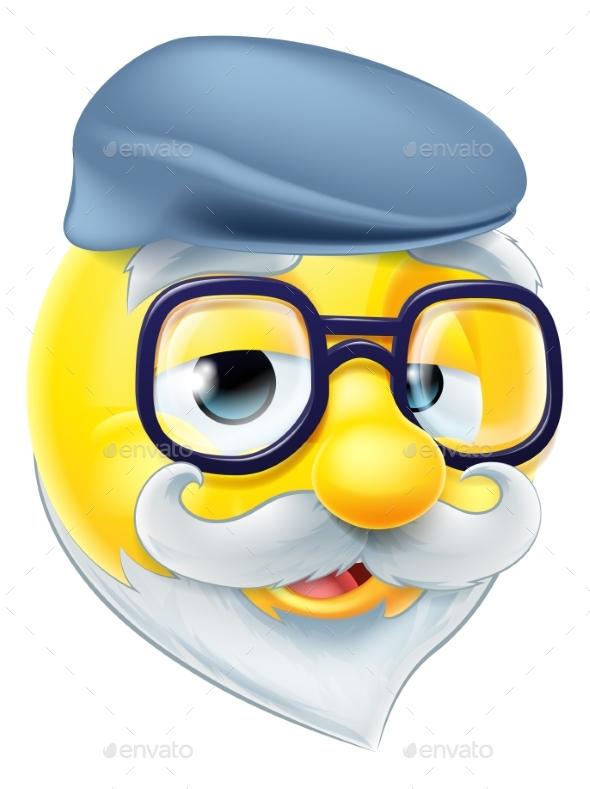 Elderly Man Emoji Emoticon - Miscellaneous Characters