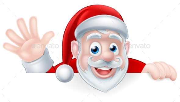 Cartoon Santa Waving - Seasons/Holidays Conceptual