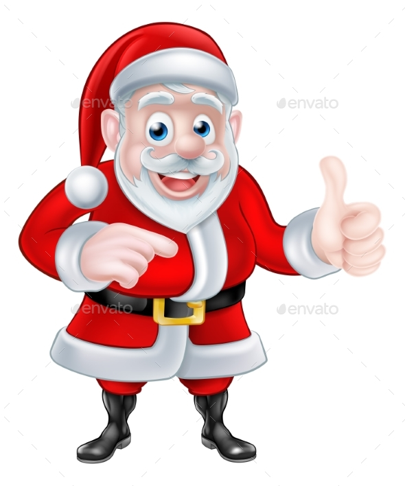 Santa Pointing - Christmas Seasons/Holidays
