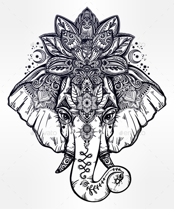 Decorative Elephant With Lotus Mandala Crown By Itskatjas