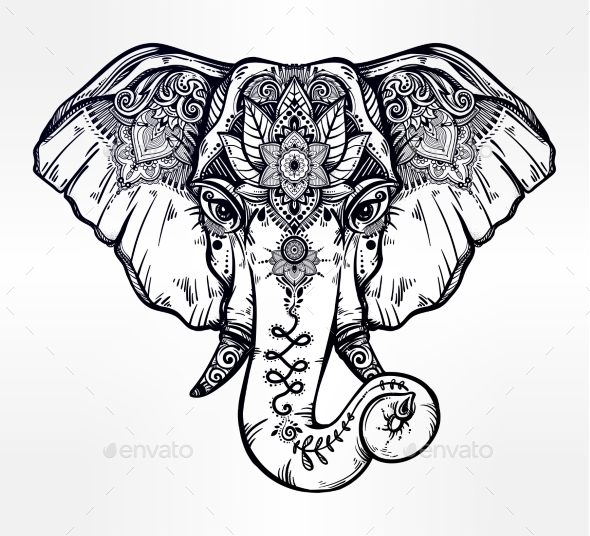 Decorative Elephant with Ethnic Lotus Ornament - Animals Characters