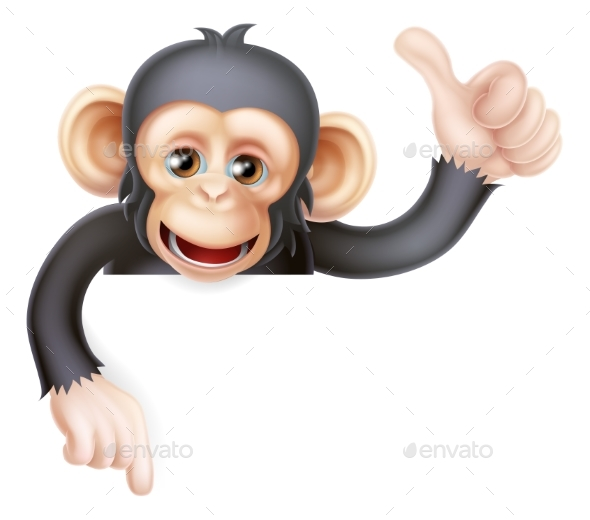 Thumbs Up Monkey Chimp Sign - Animals Characters