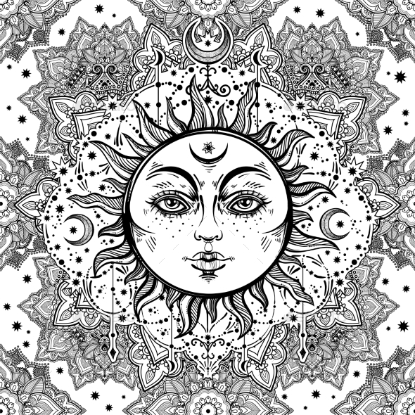 Floral Paisley Sun Face Pattern - Patterns Decorative