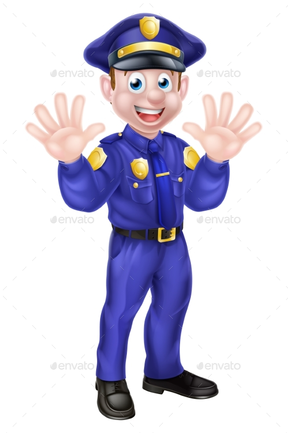 Cartoon Policeman Waving - People Characters