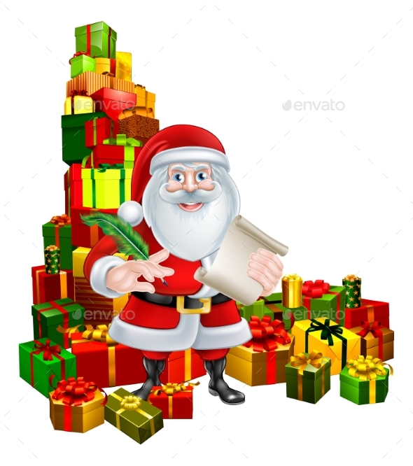 Santa and Gifts List - Seasons/Holidays Conceptual