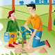 Child With His Father Planting A Seedling - GraphicRiver Item for Sale