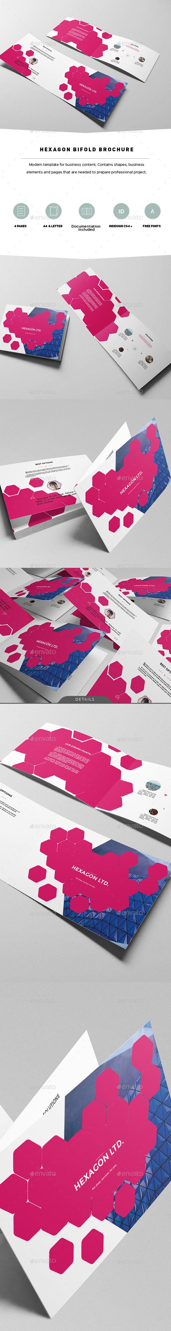Hexagon Modern Bifold Brochure - Corporate Brochures
