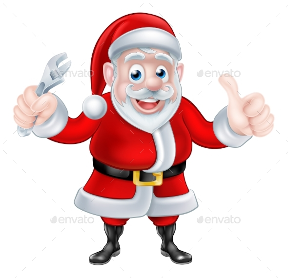 Cartoon Santa Thumbs Up and Holding Wrench Spanner - Seasons/Holidays Conceptual