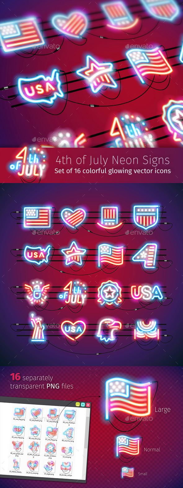 Fourth of July Neon Signs - Decorative Symbols Decorative