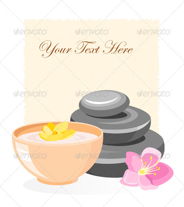 SPA Emblem With Stones And Flowers - Health/Medicine Conceptual