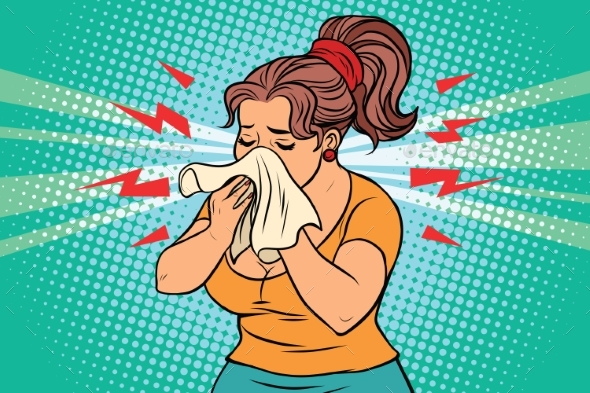 The Woman is Sick, Runny Nose and Handkerchief - People Characters