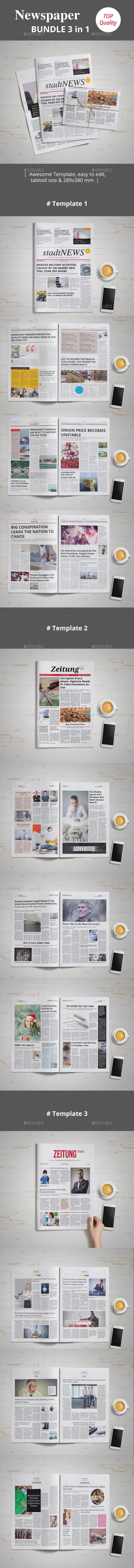 Newspaper Bundle  3 | 1 - Newsletters Print Templates