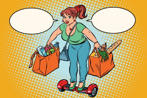 Young Woman with Grocery Shopping on Gyrometer - Miscellaneous Vectors