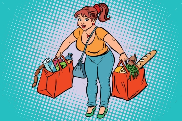 Young Woman with Grocery Shopping - People Characters