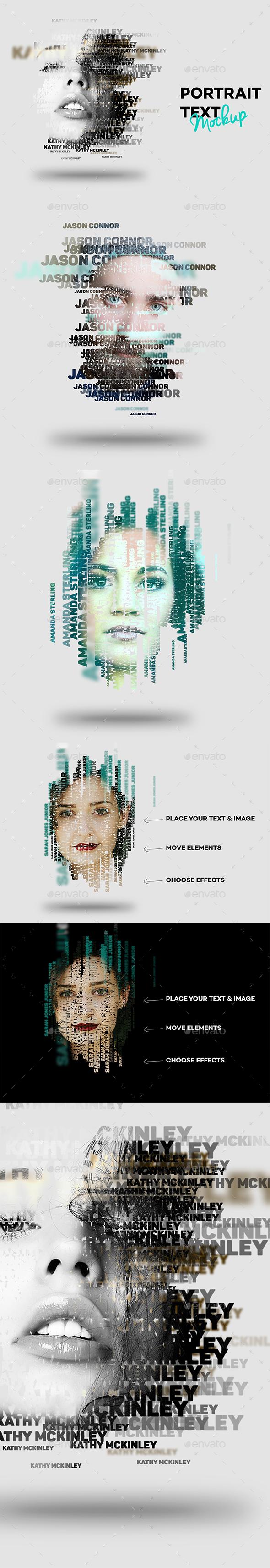 Text Portrait Effect - Miscellaneous Product Mock-Ups