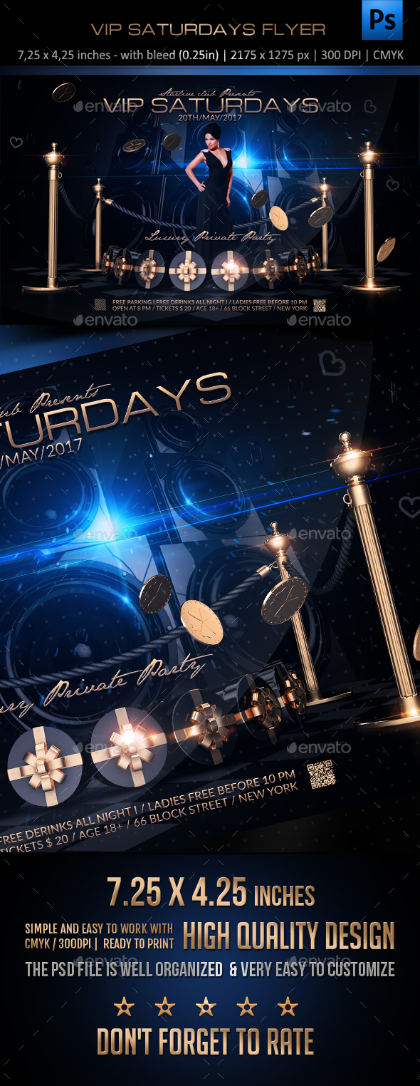 Vip Saturdays Flyer - Clubs & Parties Events