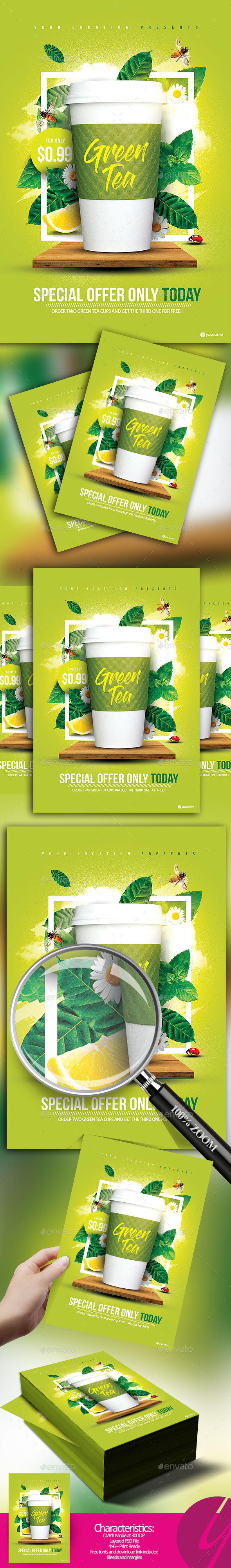 Green Tea Offer Flyer - Restaurant Flyers