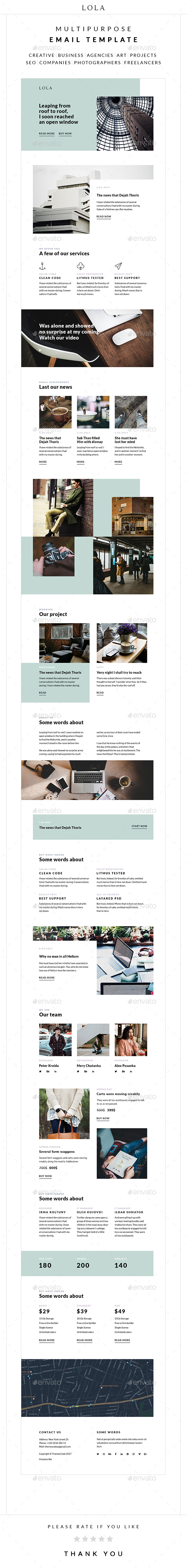 Lola – Multipurpose Email Template - E-newsletters Web Elements