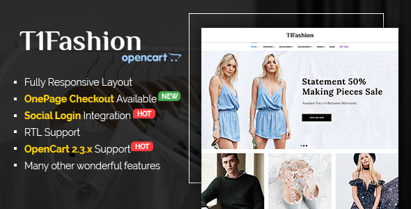 T1Fashion - Responsive Fashion OpenCart 2.3 Theme - Shopping OpenCart