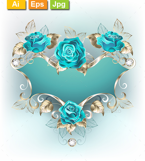 Banner with Turquoise Roses - Borders Decorative