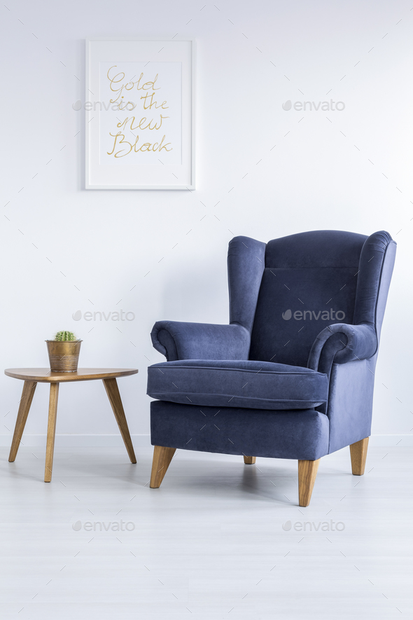 low priced 7a63e d8308 Blue armchair and side table