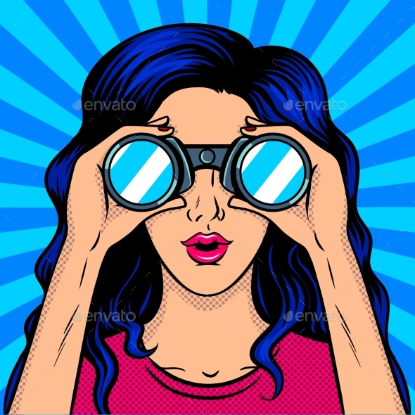 Woman Looks Through Binocular Pop Art - People Characters