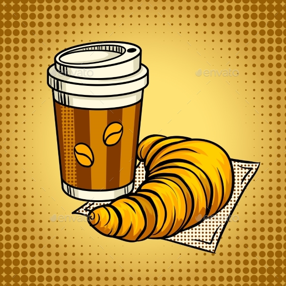 Coffee and Croissant Pop Art Vector Illustration - Food Objects
