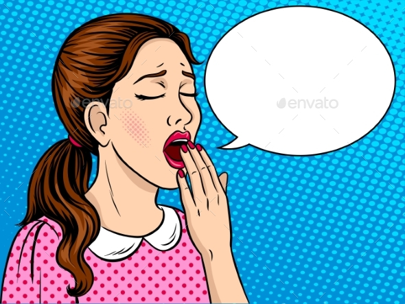 Yawning Girl Pop Art Style - People Characters